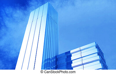 3d illustration of a generic cityskyscraper and office building