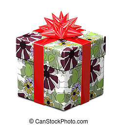 3D Illustration of a Gift with a Pattern and Red Ribbon
