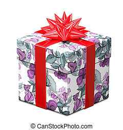 3D Illustration of a Gift with Flower Pattern