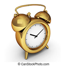 Alarm Clock - 3D Illustration of a Gilded Alarm Clock