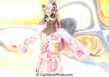 3D illustration of a girl with fox mask
