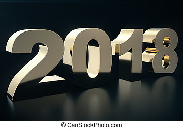 3d illustration of a golden text on a black background with reflection on the floor. 3d text 2018 happy new year. Gold text