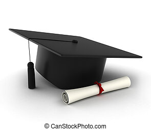 Graduation Cap and Diploma - 3D Illustration of a Graduation...