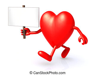 heart holding a signboard - 3d illustration of a heart...