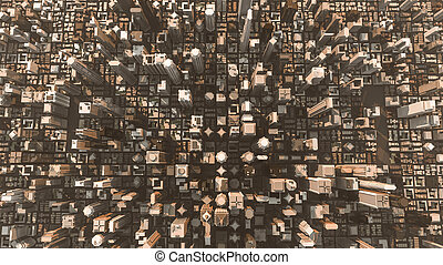 downtown district - 3d illustration of a huge section of...