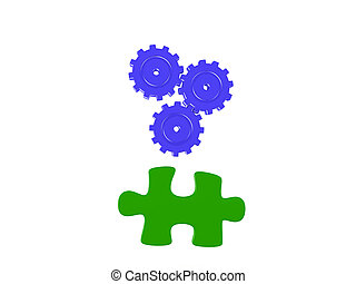 3D Illustration of a jigsaw puzzle piece and three turning gears