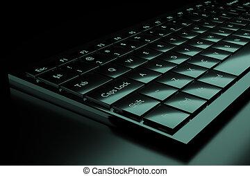 3d illustration of a keyboard on a dark background