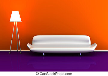 3d illustration of a lamp and a white sofa in a colourful room