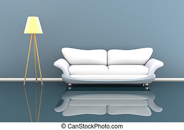 3d illustration of a lamp and a white sofa in a grey room
