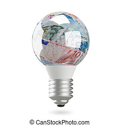 3D Illustration of a Lamp with Euro