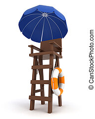 Lifeguard Post - 3D Illustration of a Lifeguard Post