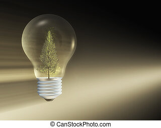 light bulb with a tree inside