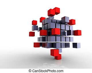 3d illustration of a lot of metallic black cubes