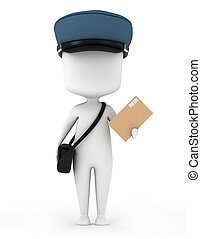 Mailman - 3D Illustration of a Mailman Carrying a Letter