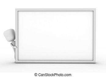 Man Hiding Behind a White Board