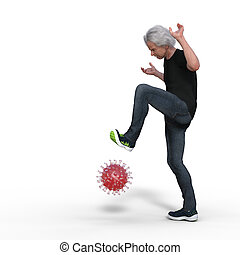 man playing with a coronavirus