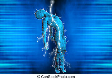 3D illustration of a man struck by lightning