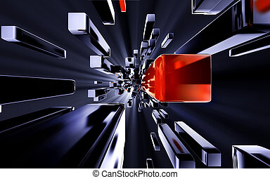 3D illustration of a matrix