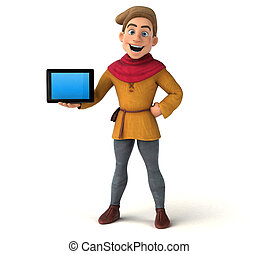 3D Illustration of a medieval historical character