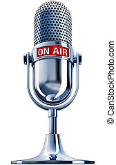 on air - 3D illustration of a microphone with on air icon