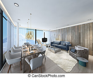 3d illustration of a modern apartment living room