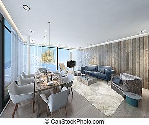 3d illustration of a modern apartment living room
