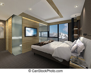 3D illustration of a modern bedroom