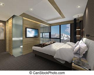 3D illustration of a modern bedroom