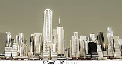 modern city skyline - 3d illustration of a modern city ...