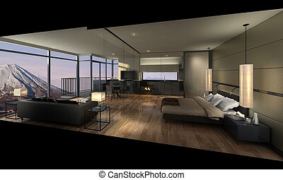 3D illustration of a modern room