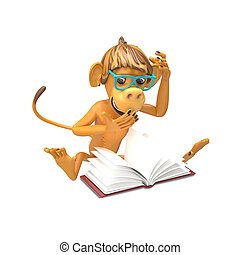 3D Illustration of a Monkey with a Book
