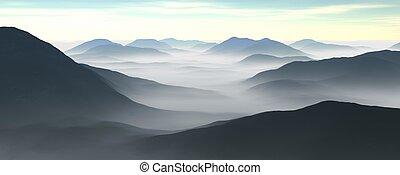 mountain range - 3d illustration of a mountain range