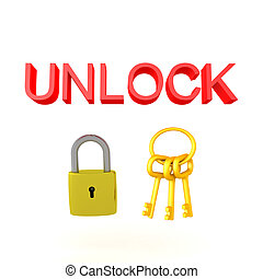 3D illustration of a padlock and keychain with the text UNLOCK above