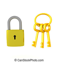 3D illustration of a padlock next to a golden keychain