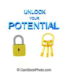 3D illustration of a padlock with keys and the text Unlock potential