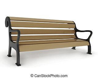 3D Illustration of a Park Bench