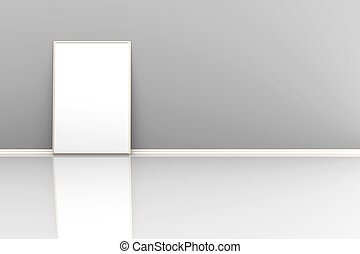 3d illustration of a picture frame on the floor in a grey room