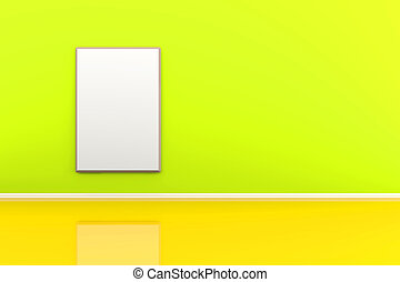 3d illustration of a picture frame on the wall in a green room