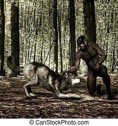 3D Illustration of a Primeval Man with Wolf