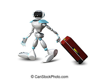 3D Illustration of a Robot with a Suitcase