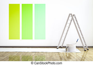a room with three different colors on the wall to choose