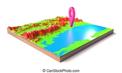 3D illustration of a rotating pin on a 3D map