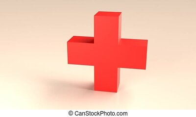 3D illustration of a rotating red cross