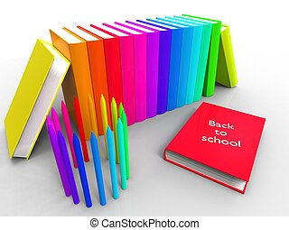 3d illustration of a series of colorful books for the school year on a white background