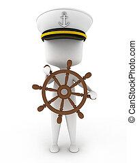 Ship Captain - 3D Illustration of a Ship Captain