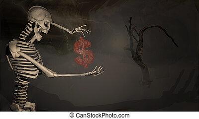 3d illustration of a skeleton gesturing