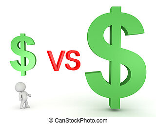 3D Illustration of a small dollar symbol versus a big dollar symbol