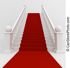 Red Carpet - 3D Illustration of a Staircase Covered with Red...