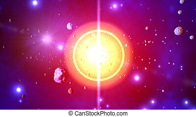 3D Illustration of a Stellar explosion throwing asteroids