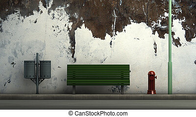street furniture - 3d illustration of a street and street ...
